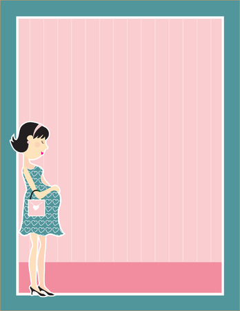 baby girl: A young pregnant woman holding her belly in a frame Illustration