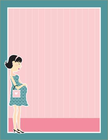Una joven mujer embarazada, la celebración de su vientre en un marco Foto de archivo - 4637277