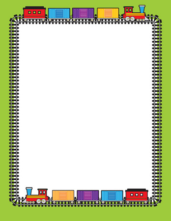 rail track: A border of train tracks with two trains going around on them Illustration