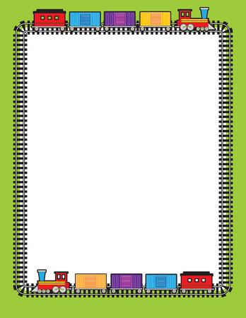 railway track: Een grens van trein-tracks met twee treinen gaan rond op hen Stock Illustratie