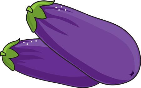 Een paar paarse aubergine op een witte achtergrond Stock Illustratie