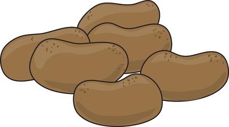 A group of potatoes on a white background Ilustração