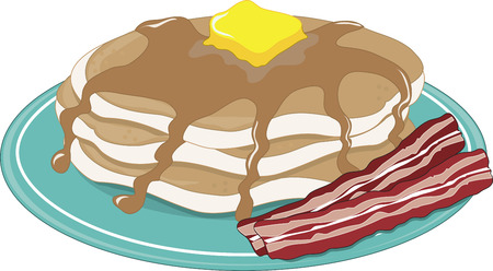 A stack of pancakes with syrup, butter and bacon Ilustração