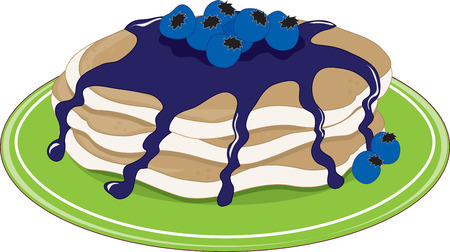 A stack of pancakes with blueberry syrup