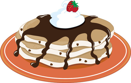 A stack of pancakes with chocolate syrup and whipped cream