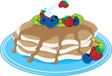A stack of pancakes with maple syrup and fruit