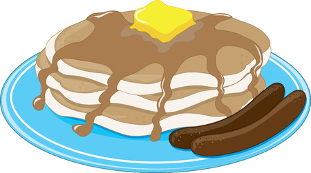 stacked: A stack of pancakes with two sausages Illustration
