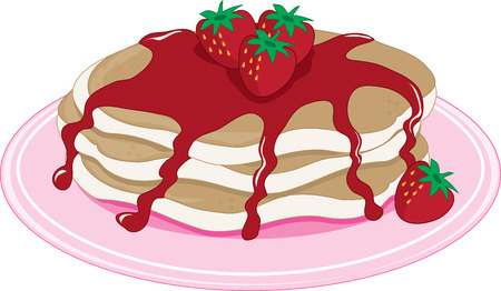 syrup: A stack of pancakes with strawberry syrup Illustration