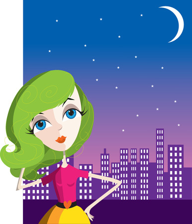 Young woman with green hair posing in front of a city skyline Vector