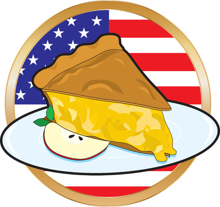 art piece: A juicy piece of apple pie with the American Flag in the background