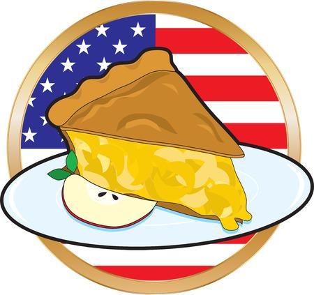 pastel de manzana: Un jugoso pedazo de pastel de manzana con la bandera americana en el fondo Vectores