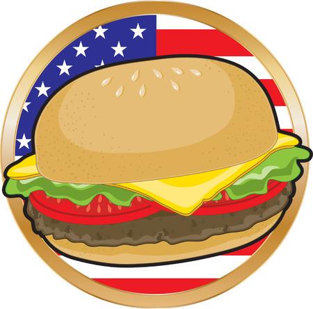 comida americana: Una jugosa hamburguesa con la bandera americana en el fondo