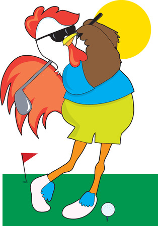 A cool rooster taking a swing on the golf course Vector