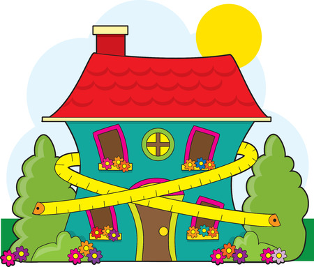 A cute little house with a tape measure around it suggesting conservation Stock Vector - 4839926
