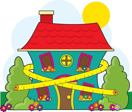 cintas: Una linda casa con una cinta m�trica alrededor de �l sugiriendo conservaci�n Vectores