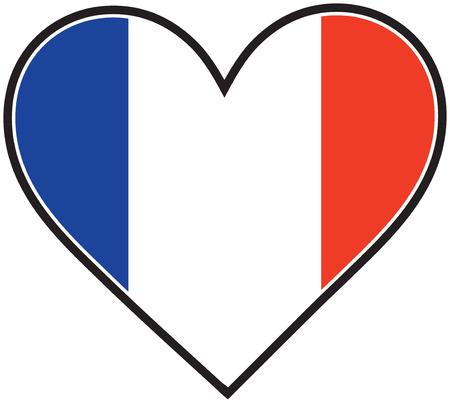 bewonderen: Een Franse vlag de vorm van een hart Stock Illustratie