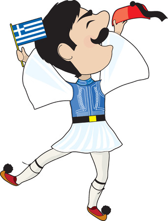 national costume: A Greek Evzone dancing with a Greek flag Illustration