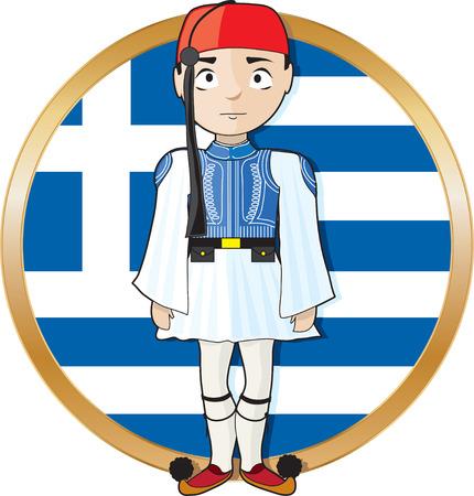 arte greca: Un greco Evzone attenzione a piedi in uno frontof bandiera greca Vettoriali