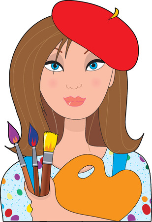 paints: A young female caucasian artist holding a palette and brushes