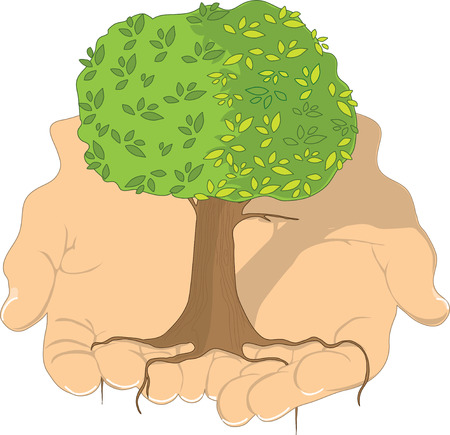 A beautiful tree in the palm of a mans hands Vector
