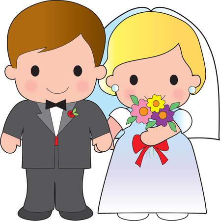 Illustration of an adorable groom and his bride