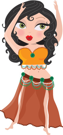 A bellydancer with her hands in the air Vector