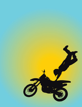 Silhouette of a young man flying through the air on his motorcycle with one hand on the seat Vector