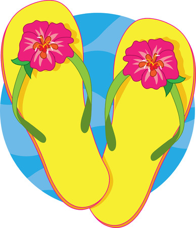 flop: A pair of yellow flip flops with a pink hibiscus blossom