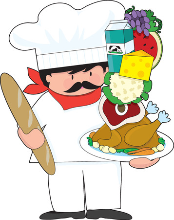 A cute chef holding a plate with a stack of food