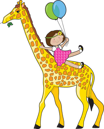 A little girl is sliding down a giraffe's neck. She is holding two balloons