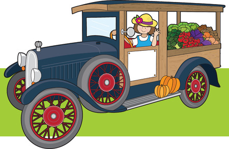 A young woman is driving a truck full of vegetables