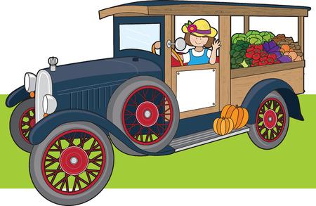 Eine junge Frau ist einen Lastwagen voller Gemüse fahren.  Standard-Bild - 5440342