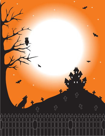 Silhouette of a haunted house on the hill of a cemetery Vector