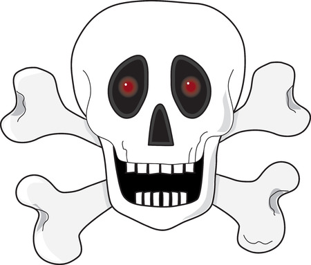 A skull and crossbones with fiery red eyes