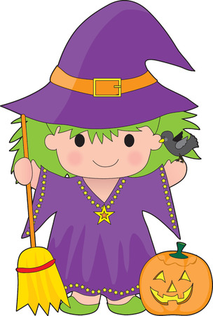 A cute little witch with a broom and pumpkin Çizim
