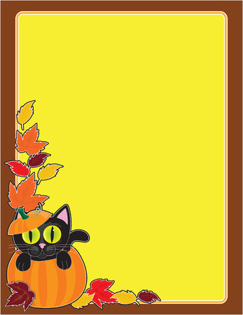 A black cat sitting in a pumpkin in the corner of a Halloween frameborder