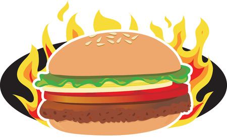 A hamburger on a background of flames