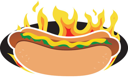 hot dog: A hot dog on a background of flames Illustration