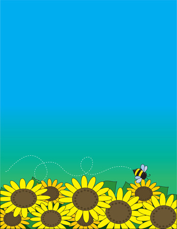 A bed of sunflowers with a bee hovering over them Vector