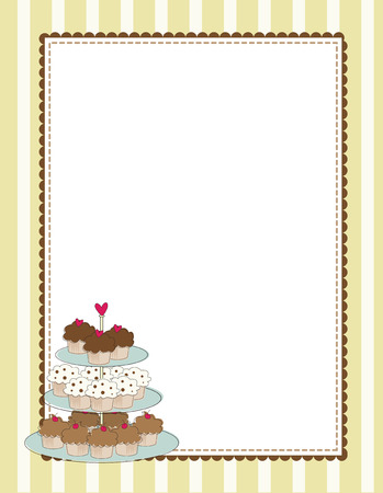 A striped border with a tiered tray of cupcakes Stock Vector - 5545077