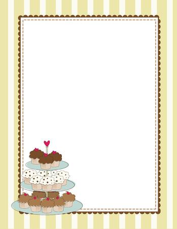 Een gestreept grens met een gelaagde lade van cupcakes Vector Illustratie