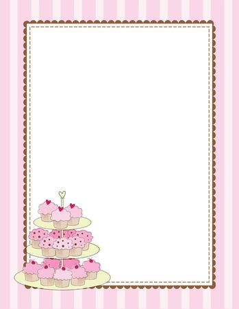컵 케이크의 다층 트레이가있는 줄무늬 테두리