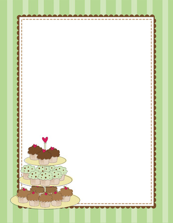 sprinkle: A striped border with a tiered tray of cupcakes