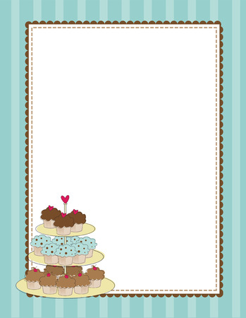 cupcake illustration: A striped border with a tiered tray of cupcakes