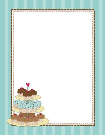 Een gestreept grens met een gelaagde lade van cupcakes
