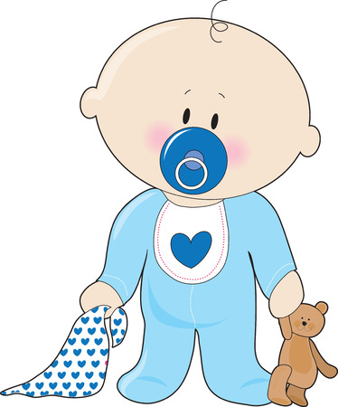 A baby boy with a soother,blanket and teddy bear