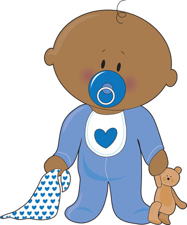 baby girl: A baby boy with a soother,blanket and teddy bear