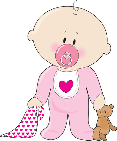 A baby girl with a soother,blanket and teddy bear
