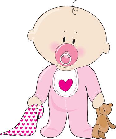 Ein Babymädchen mit Schnuller, Decke und Teddybär  Vektorgrafik