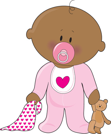infant: A baby girl with a soother,blanket and teddy bear Illustration